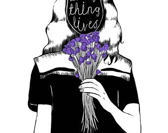 Everything lives A4 print