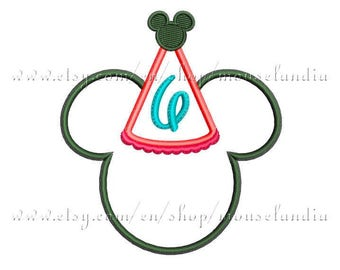 cute mouse Happy  birthday (number 6).  Applique Design.  2 sizes 4X4 and 5X7. Instant Download