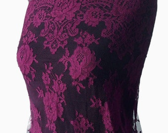 burgundy lace fabric French lace Solstiss scallop edging eyelash lace floral bridal mother of bride 98cm wide