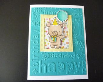 Birthday Card, Bear Card, birthday card, teddy bear card, Handmade Card, Friend Card