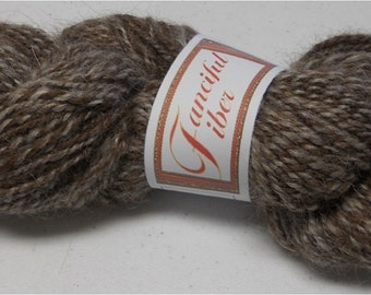 Handspun 100%  Llama Yarn 2 Ply  Brown/White Tweed (C)