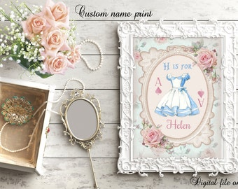 Digital Custom Alice in Wonderland Initial Is for... Personalized,Nursery Print,Bedroom,Kids,Gift,Baby