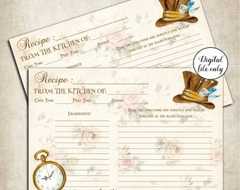 Digital Alice in Wonderland Recipe Cards - Collage Sheet,Printable,Download,Kitchen, Cookbook,Favors,Bridal Shower,Gift