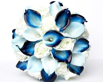 Blue and White Wedding Bouquet , Navy and Baby Blue Wedding Bouquet , Silk Rose and Real Touch Calla Lily Wedding Bouquet