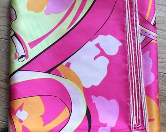 Vintage 100% silk twill scarf belt and bags print. 90x90cm.