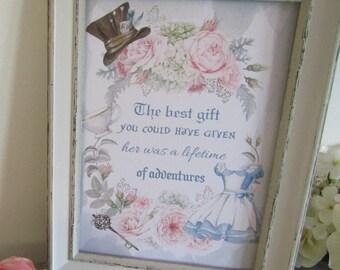 1 Floral Alice in Wonderland Adventure Quote Print Gifts,Home,Party,Bedroom,Nursery,Kids