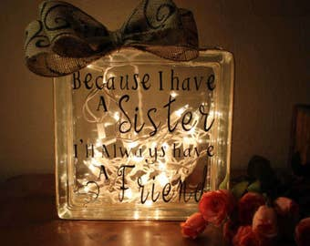 Sister glass block light with Inspirational quote Sister wedding gift Sister in law gift Birthday gifts Sisters