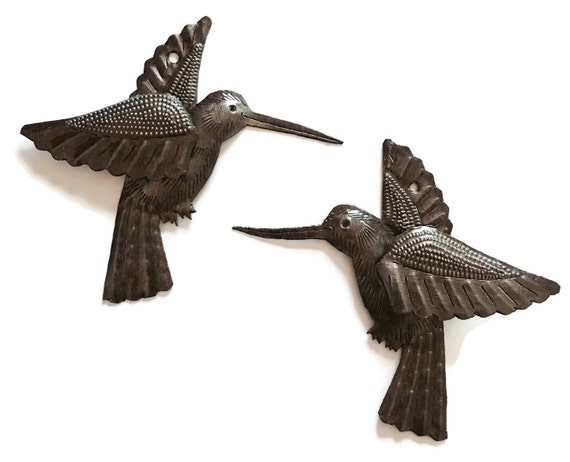 Hummingbird Metal Wall Art, (set of 2) Haiti, 3-D WIngs, made from Recycled Steel