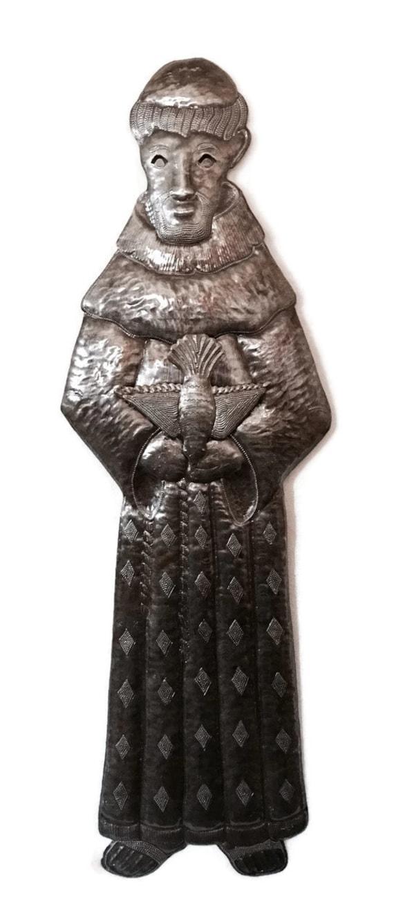 "Saint Francis, Haiti Steel Drum Art, Bird in Hand, Religious Decoration (11"" X 33"")"
