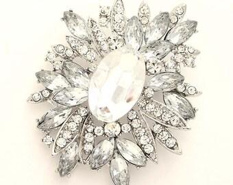 Rhinestone Brooch Wedding Bridal Brooch Dress Sash Cake Bouquet Crystal Silver Brooches Decorations DIY Jewelry Crafts Glam Wedding Broach