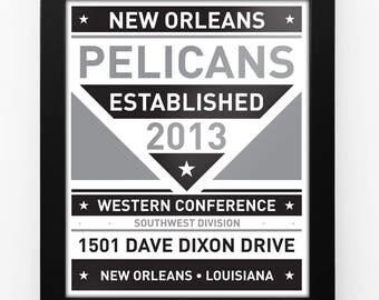 New Orleans Pelicans Black & White Modern Team Print Framed