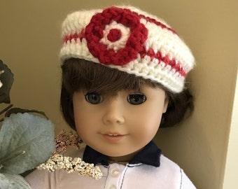"Handmade Crochet Beanie Beret Hat for 18"" American Girl Doll - Red and Cream - Christmas - D22"
