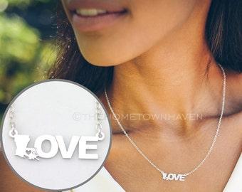 Louisiana Love Necklace, I heart Louisiana necklace, Love necklace