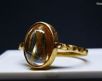 Size 7.75 Rutilated Quartz & Gold Ring, Made in Greece