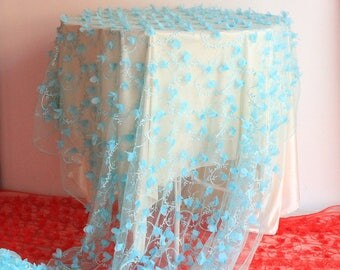3D Lake Blue Rosette Chiffon Fabric Roses Fabric 47 Inches Wide 1 Yard For Wedding Dress Veil Costume Supplies YL330
