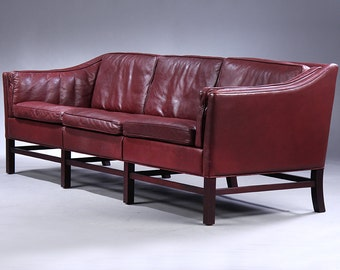 Danish Modern Red Leather Sofa by Grandt Design