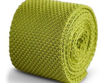 lime green plain knitted tie by Frederick Thomas FT3279