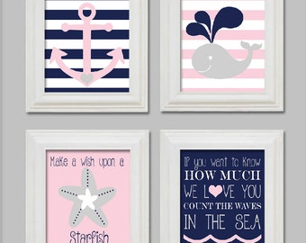 8X10 - Nautical Nursery Art Prints - Little girl nursery - Anchor whale starfish - Count the waves in the sea - Pink - Gray - Printable