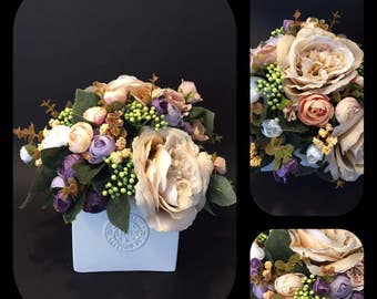 Artificial flower arrangement, Spring centerpiece, Easter, Wedding flowers, Mothers day, Home decor