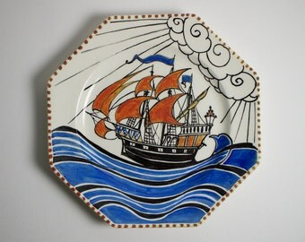Antique Art Deco galleon pottery hexagonal plate