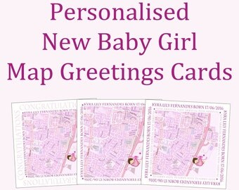 Personalised New Baby Girl Map Greetings Card