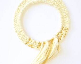 Pasithee, artisanal Decoration in mixed fiber woven Gold Crown