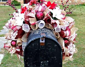 Mailbox Swag, Mailbox Swag, Artificial mailbox topper, Deco mesh, mailbox cover, custom made, ready to ship,
