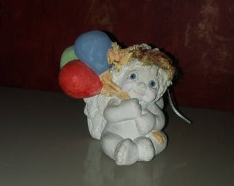 Dreamsicle 1995 By Kristin Sweet Little Angel Holding Colored Balloons KW-282