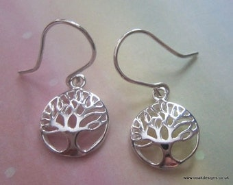 Argentium (935) Sterling Siver Earrings with Sterling Silver (925) Tree of Life Charms