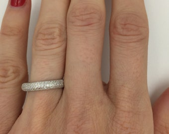 eternity ring, sterling silver eternity band, round cut wedding band, stacking cz band, micro pave thin cz ring