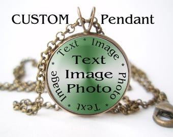 Custom pendant necklace jewelry, Personalized pendant necklace jewelry, custom tags, custom photo, custom image, pendant, necklace, jewelry