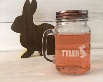 Personalized Easter Glass /Easter Mason Jar Glasses / Bunny Glass / Bunny Mason Jar / Easter Glasses / Etched Glass / Kids Easter Glass