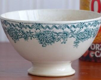 Green transferware bowl. French cafe au lait bowl. French breakfast.