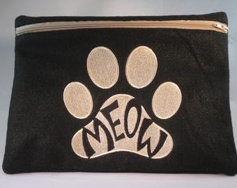 Meow Embroidered Zipper Pouch