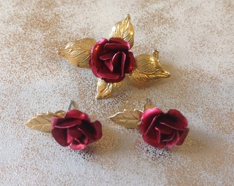 Vintage Rose brooch set