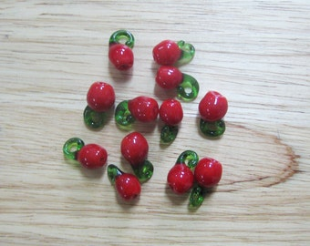 Red Cherry Glass Beads, 15x10mm