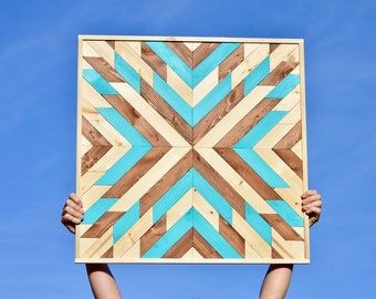 Blue Starburst Wooden Wall Hanging
