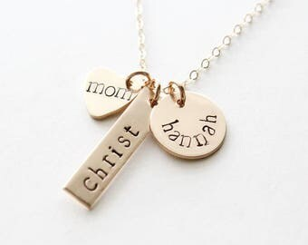 Child Name Necklace / Custom Hand Stamped / Mothers Necklace / Mother's Day Jewelry / Gold Mother Necklace 14K / Mom Gift / Family Necklace