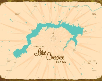 Lake Cherokee, TX Map - Canvas Print