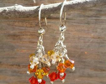 Crystal cascade earrings, handmade jewelry, earrings, Swarovski crystal, ombre effect, shades of orange, customizable