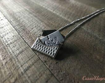 Love letter envelope necklace // Metal stamped
