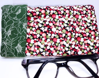 Super Padded Sunglasses Case, Extra Wide Glasses, Quilted Sunglass Pouch, Magnetic Snap Closure