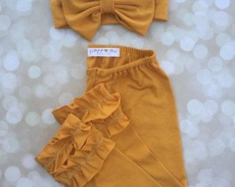 Lollipop Leggings; Bow Turban; ruffle pants; Mustard Yellow