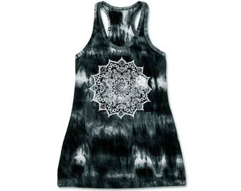 Tie Dye Tank Dress Racerback Dress Hippie Bohemian Racerback Dress Hand Tie Dye Graphic Hand Mandala Hand Screen Print 100% Cotton Free Size