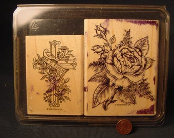 Craft * Two Rubber Stamps * Easter Rose * 1998