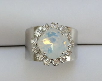 White Opal and Clear Crystal Ring