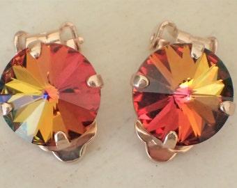 Swarovski Volcano Crystal Clip On Earrings, Rose Gold