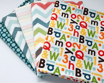 SALE!! 1 Yard  Bundle School Days By Zoe Pearn for Riley Blake Designs 5 Fabrics