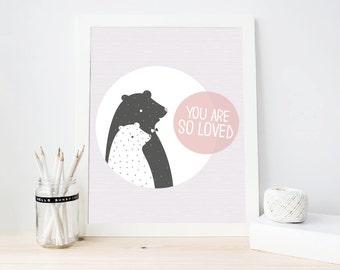 You are so loved, Baby Wall Art, Modern nursery art print, Baby Room Decor, Nursery Printable, Instant download (BabyArt C7bis)