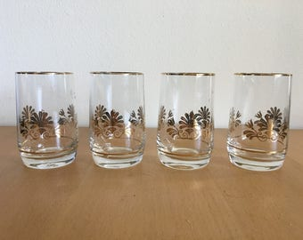 Set of four Midcentury Modern shot / juice glasses with gold rim and fleur de lis for Boho Atomic Ranch or tropical Old Florida home!